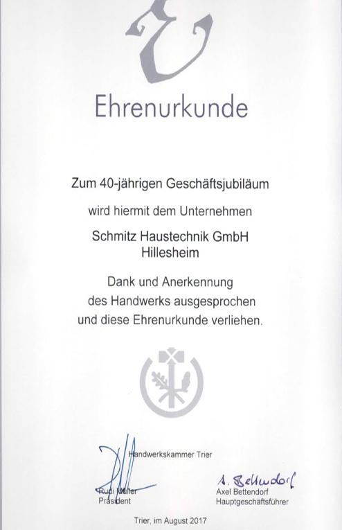 Urkunde 40 Jahre Schmitz - Handwerkskammer Trier