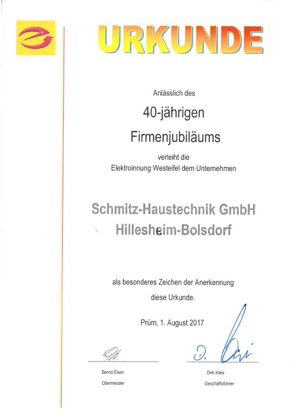 Urkunde 40 Jahre Schmitz - Elektroinnung Westeifel