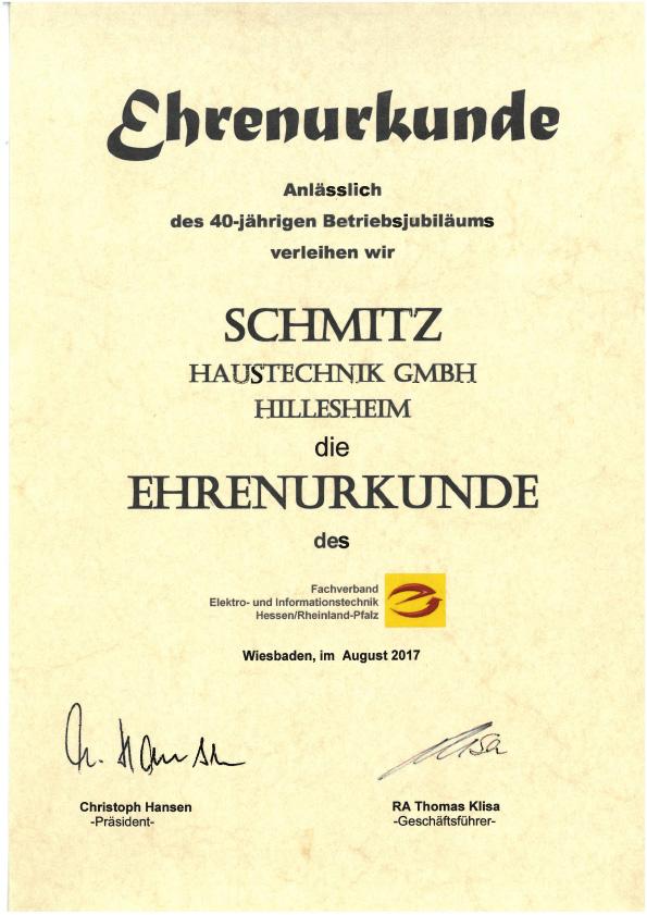 Urkunde 40 Jahre Schmitz - Fachverband - Elektro- und Informationstechnik Hessen/Rheinland-Pfalz