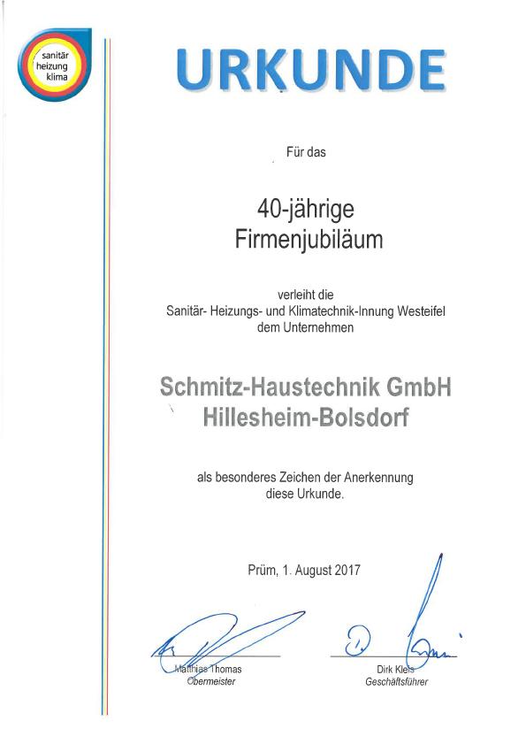 Urkunde 40 Jahre Schmitz - SHK