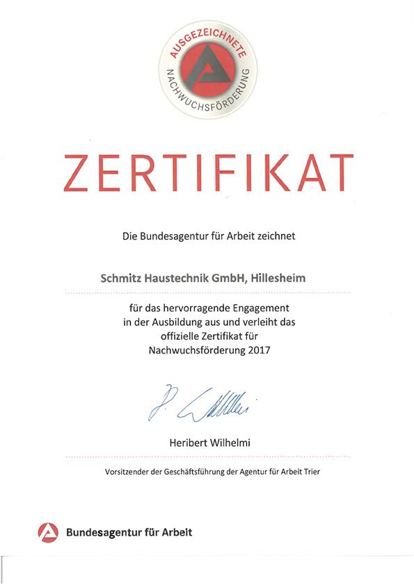 Zertifikat Bundesagentur für Arbeit - Ausbildung