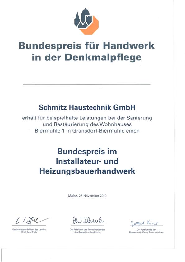 Bundespreis für Handwerk in der Denkmalpflege
