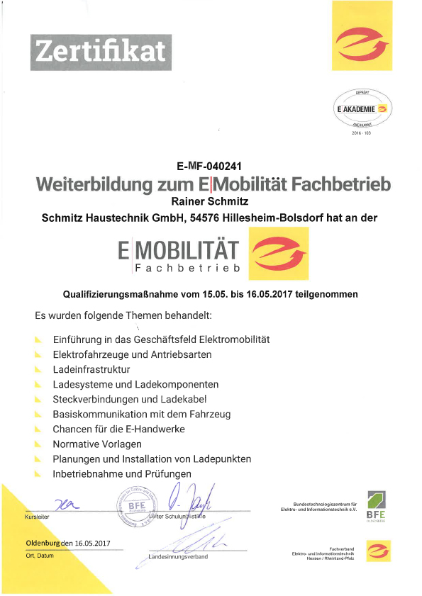Zertifikat E-Mobility-Fachbetrieb