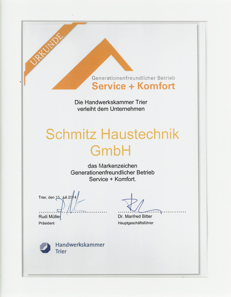 Urkunde Service + Komfort HWK