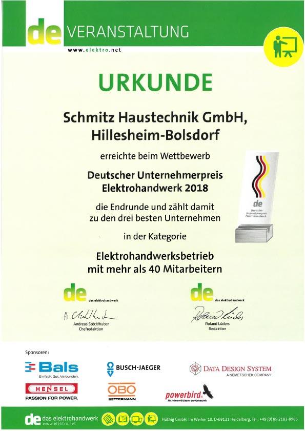 Urkunde Unternehmerpreis Elektrohandwerk 2018