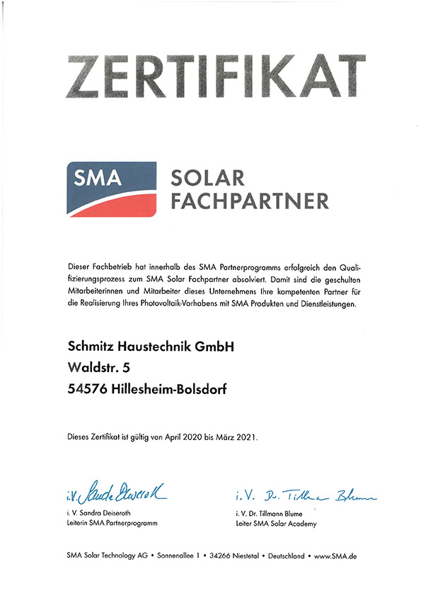 Zertifikat SMA Solar Fachpartner